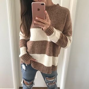 Sweaters - Chenille Cream and White Striped Sweater